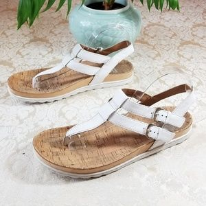 Born Leather & Cork T-Strap Sandals